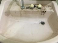 クリーニング前の洗面台
